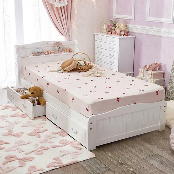 収納付きすのこベッド(シングルマットレス付き)