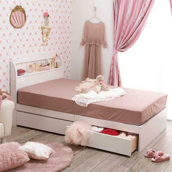 【大型】大量収納ベッド ポケットコイルマットレス付(ホワイト・シングル)
